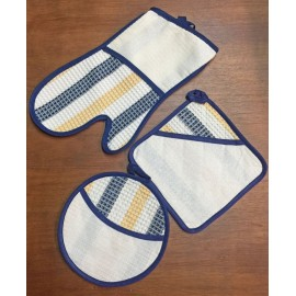 Set, kitchen glove, oven and pot holders grey with aida fabric
