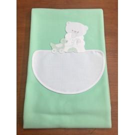 Copertina da lettino con orsetto - col. verde