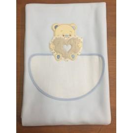 Copertina da lettino con orso e cuore - col. azzurro