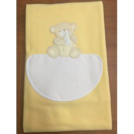 Copertina da lettino con orsetto e biberon - col. giallo