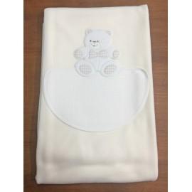 Copertina da lettino con orso fiocco - col. panna