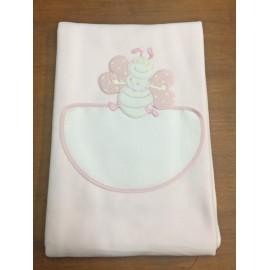 Copertina da lettino con farfalla - col. rosa