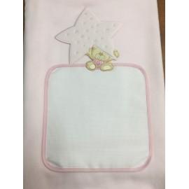 Copertina da lettino con orso e stella - col. rosa