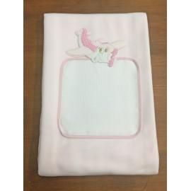 Copertina da lettino con aereo - col. rosa
