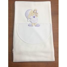 Copertina da lettino con orso in pigiama - col. panna