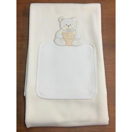 Copertina da lettino con orso baby - col. panna