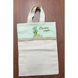 Shopping bag in fabric with cactus embroidered