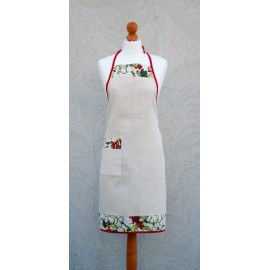 Apron Bib red with mistletoe
