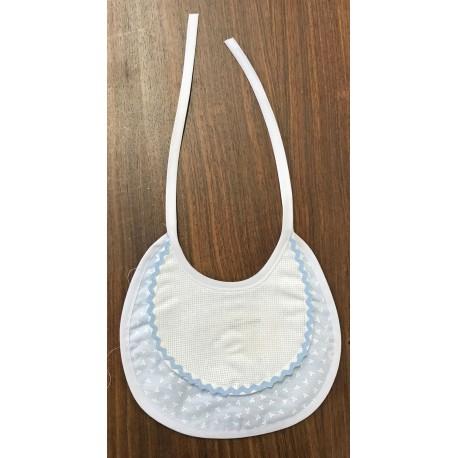Bavaglia neonato azzurra con trifogli bianchi