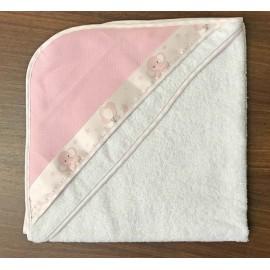 Accappatoio neonato col. Bianco con bordino rosa elefanti