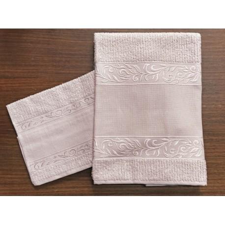 Coppia asciugamani da bagno 'Verona' col. Rosa - 100% cotone