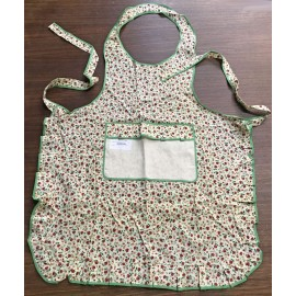 Apron Bib Small Red Flowers