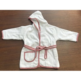 Bathrobe with hood and sleeves, the borders of vichy red