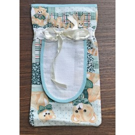 Baby bottle holder-green with teddy bears