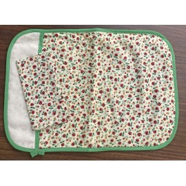 Placemat-american with small red flowers and napkin
