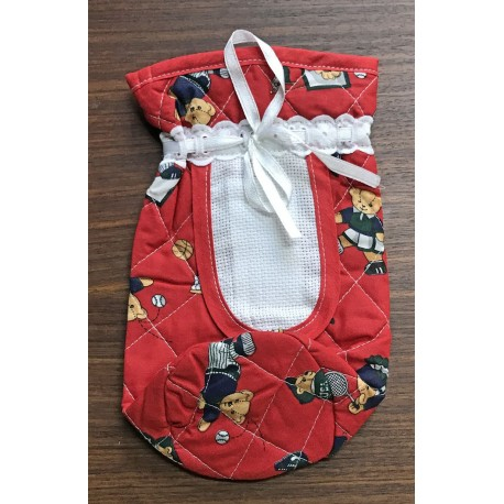 The baby bottle holder with. Red with teddy bears