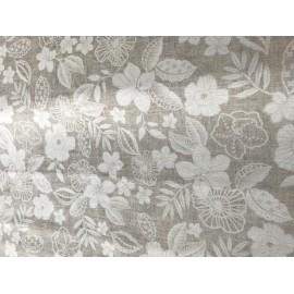 Tessuto stampato fiori bianchi H140cm, 100% cotone