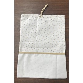 Bag birth with aida, col. white with hearts, beige