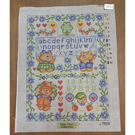 Canvas 30x40 art. J7509 Sampler teddy bears