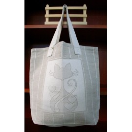 Fabric bag with. Ecru