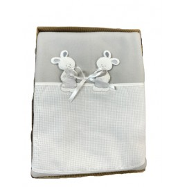 Cover cot fleece with. White and blue