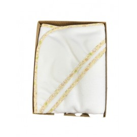 Bathrobe baby with. White with piping, yellow