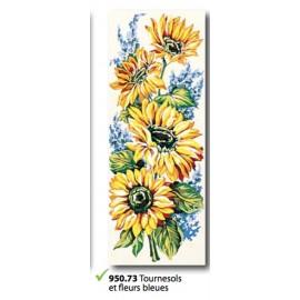 Cloth Tournesols et fleurs bleues art. 950.73
