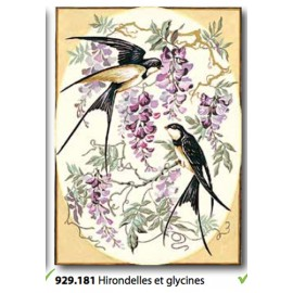 Cloth Hirondelles et glycines art. 929.181