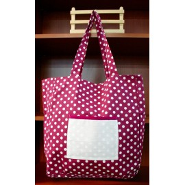 Fabric bag with. Fuchsia