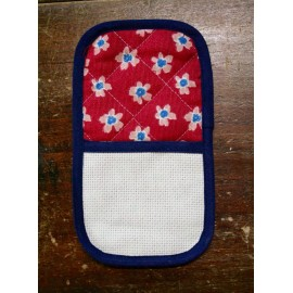 Needle holder with. blue and red with flowers