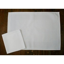 Placemat-american with a napkin with. White