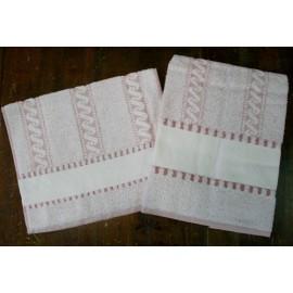 Coppia asciugamani da bagno col. Rosa antico