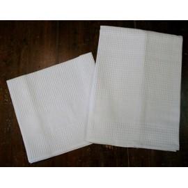 Coppia asciugamani da bagno nido d'ape col. Bianco