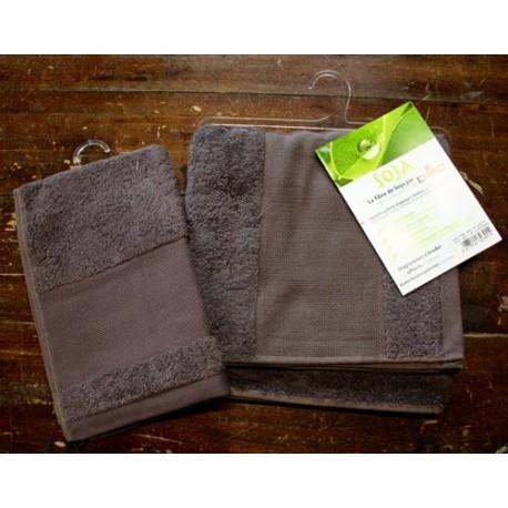 Coppia asciugamani da bagno Soja col. Marrone