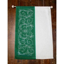 Panel with canvas Hardanger with. Ecru and green