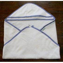 Accappatoio neonato col. Bianco con bordino blu