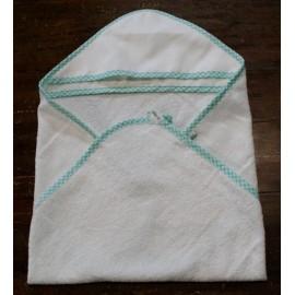 Accappatoio neonato col. Bianco con bordino verde acqua