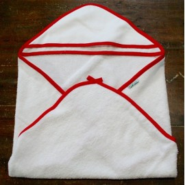 Accappatoio neonato col. Bianco con bordino rosso