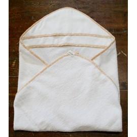 Accappatoio neonato col. Bianco con bordino arancio
