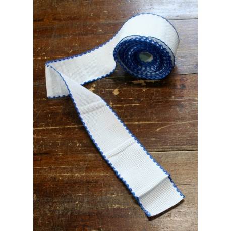 Edge to the aida fabric to 55 holes h 5 cm - Color White/Blue