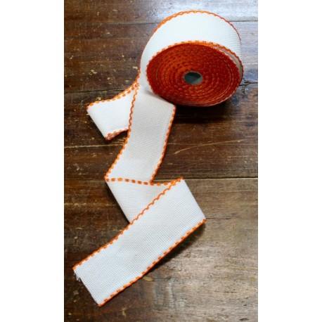Edge to the aida fabric to 55 holes h 5 cm - Color White/Orange