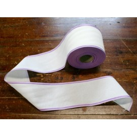 Edge to the aida fabric to 55 holes h 8,5 cm - Color White with border Lilac