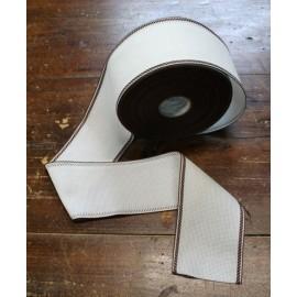 Bord de la toile aïda à 55 trous h 8,5 cm - Couleur Blanc avec un cadre Marron
