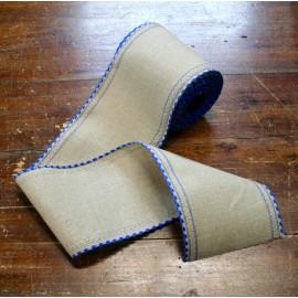 Border linen h 10 cm - Color Ecru/Blue