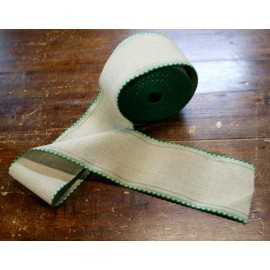 Border linen h 10 cm - Color Ecru/Green