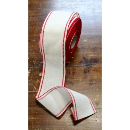Border linen h 10 cm - Col. White/Red-Gold