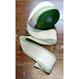 Border linen h 8,5 cm - Col. White/Green