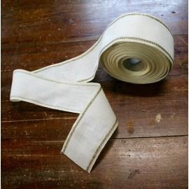 Bordo lino h 8,5 cm - Col. Bianco/Oro