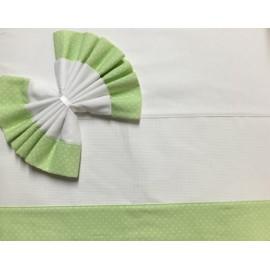 Lenzuolino culla 5615 - Bianco e verde chiaro con pois