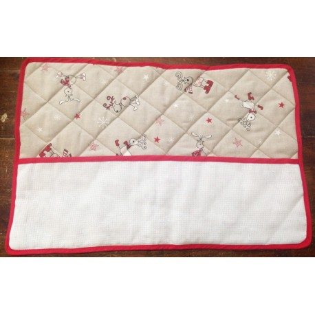Placemat-american christmas with towel - red with reindeer